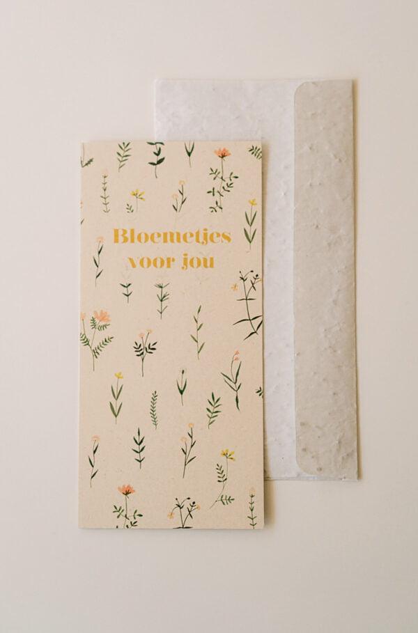 Kaart bloemetjes voor jou met envelop van groeipapier